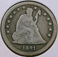 1891 S SEATED LIBERTY QUARTER LAST OF THE BREED  0110 33