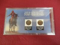 19TH AND 20TH CENTURY INDIAN HEAD PENNIES 1898 AND 1906 NICE HOLDER