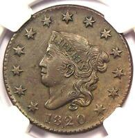 1820 SMALL DATE CORONET MATRON LARGE CENT 1C N 8   NGC AU DETAILS    COIN
