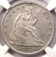 1873 S ARROWS SEATED LIBERTY HALF DOLLAR 50C. CERTIFIED NGC AU DETAIL.  DATE