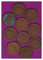 10 INDIAN HEAD CENT PENNY  OLD  FULL DATES AVERAGE CIRCULATION LOT A 139