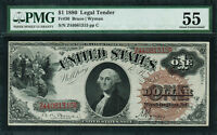 1880 $1 LEGAL TENDER FR 30   LARGE BROWN SPIKED SEAL   GRADED PMG 55