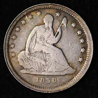 1838 SEATED LIBERTY QUARTER CHOICE VF