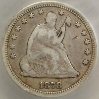 1878 CC SEATED LIBERTY QUARTER NEWLY DISCOVERED REVERSE DIE CERTIFIED