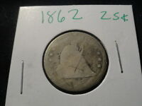 1862 . SEATED LIBERTY QUARTER  25C .. 150 YEAR OLD 90 SILVER COIN