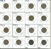 16 JEFFERSON NICKELS 1938 1939 1940 1941 1942 1943 1944 1945 1946 D MINT  L4002