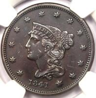 1841 BRAIDED HAIR LARGE CENT 1C N 2   NGC AU DETAILS    CERTIFIED COIN!