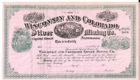 THE WISCONSIN AND COLORADO SILVER MINING CO.1880'S UNISSUED STOCK CERTIFICATE