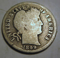 1899 SILVER BARBER DIME COIN IN GOOD1228G