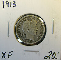 1913 XF EXTRA FINE BARBER DIME NICE OBVERSE DIRTY REVERSE