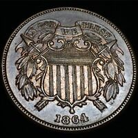1864 TWO CENT MS RB MINT STATE BOLD STRIKE LUSTEROUS