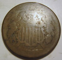 1866 CIVIL WAR ERA TWO CENT COLLECTOR COIN  717R