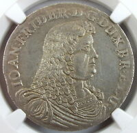 1676 GERMANY BRUNSWICK LUNE CALE 2/3 THALER MS62 SAILING SHIPS AWESOME COIN