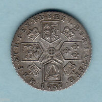 GREAT BRITAIN. 1787 GEORGE 111.. SHILLING.. WITH HEARTS..  VF