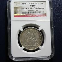 1845 O SEATED LIBERTY HALF DOLLAR NGC AU50   NO DRAPERY