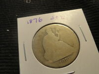 1876 SEATED LIBERTY HALF DOLLAR .50C  140 YEAR OLD 90 SILVER COIN