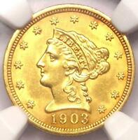 1903 LIBERTY GOLD QUARTER EAGLE $2.50   NGC UNCIRCULATED    MS UNC COIN