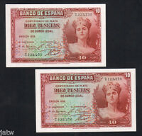 SPAIN P 86. 1935 36 10 PESETAS..   UNC   CONSECUTIVE PAIR