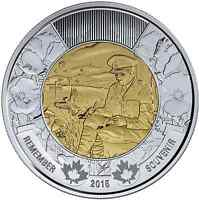 2015 REMEMBRANCE IN FLANDERS FIELDS TOONIE CANADIAN COINS IN HAND