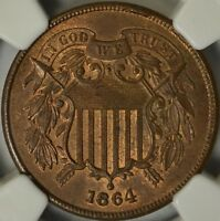 ATTRACTIVE 1864 TWO CENT PIECE, LARGE MOTTO, NGC MINT STATE 64BN, 3-DAY RETURN