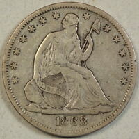 1868 S SEATED LIBERTY HALF DOLLAR FINE SLEEPER DATE   0828 12