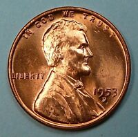 1953 D LINCOLN WHEAT CENT PENNY RED BU UNCIRCULATED DB-318
