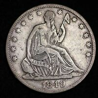 1849 O SEATED LIBERTY HALF DOLLAR CHOICE XF  E364 BT