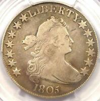 1805 DRAPED BUST HALF DOLLAR 50C - PCGS FINE DETAILS -  CERTIFIED COIN