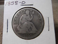 1858 O GOOD SEATED LIBERTY HALF DOLLAR