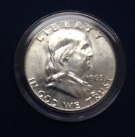 UNCIRCULATED 1963 D FRANKLIN HALF DOLLAR 90 SILVER IN AIRTITE COIN HOLDER