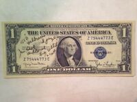 1935D ONE DOLLAR BILL  MILITARY SIGNATURE SIGN