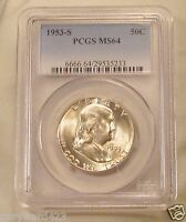 FRANKLIN  1953  S   NEAR  GEM  BU   PCGS  MS64    LUSTROUS    ORIGINAL     1027