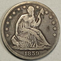 1859 SEATED LIBERTY HALF DOLLAR UNDERRATED DATE  0308 01