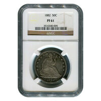 CERTIFIED SEATED LIBERTY HALF DOLLAR 1882 PF61 NGC