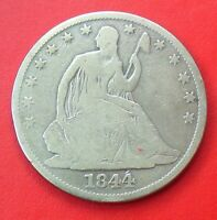 1844 P LIBERTY SEATED HALF 50C SILVER COIN CIRCULATED BETTER DATE TYPE COIN