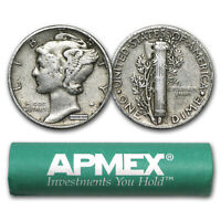 90  SILVER MERCURY DIME 50 COIN ROLL AVG CIRC   SKU 5126