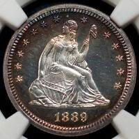 1889 LIBERTY SEATED QUARTER 25C PF64CAMEO JULES REIVER COLLECTION NGC