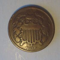 1866 TWO CENT PIECE,  CIRCULATED COIN