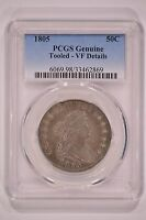 UNITED STATES 1805 DRAPED BUST HALF DOLLAR PCGS GENUINE VF DETAILS TOOLED 50C