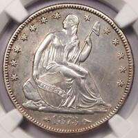 1873 ARROWS SEATED LIBERTY HALF DOLLAR 50C. CERTIFIED NGC AU DETAIL.  DATE