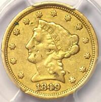 1849 C LIBERTY GOLD QUARTER EAGLE $2.50   PCGS VF DETAILS    CHARLOTTE COIN