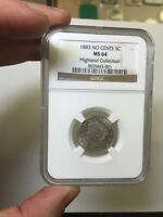 1883 LIBERTY NICKEL 5 NO CENTS NGC MS 64 HIGHLAND COLLECTION.