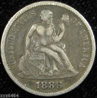 1888 10C U.S OLD SILVER LIBERTY SEATED DIME COIN VF