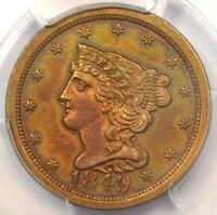 1849 BRAIDED HAIR HALF CENT 1/2C COIN   PCGS ALMOST UNCIRCULATED DETAILS AU