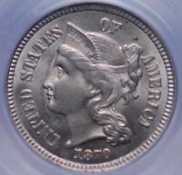 1870 THREE CENT NICKEL PCGS MS 63 NICE SATIN LUSTER AND A BETTER DATE