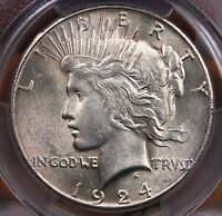 1924 S PEACE DOLLAR PCGS MS 62  LUSTROUS AND NICE FOR THE GRADE AND ISSUE