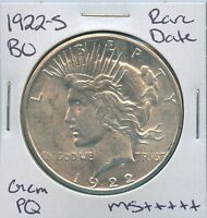 1922 S PEACE DOLLAR  DATE US MINT COIN PQ GEM SILVER COIN BU UNC MS
