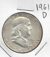 1961 D FRANKLIN HALF DOLLAR NICE 90 US SILVER COIN