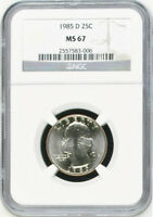 1985 D WASHINGTON CLAD 25C QUARTER MS67 NGC MS 67