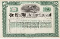 THE FORT PITT TRACTION COMPANY..UNISSUED 1800'S STOCK CERTIFICATE